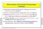 disadvantages of having host programming languages