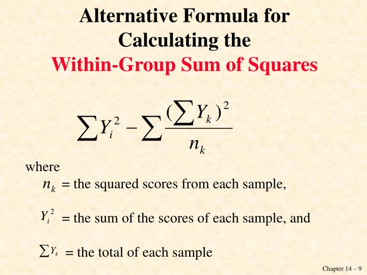 Alternative Formula for Calculating the