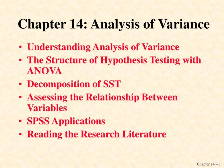 Chapter 14: Analysis of Variance