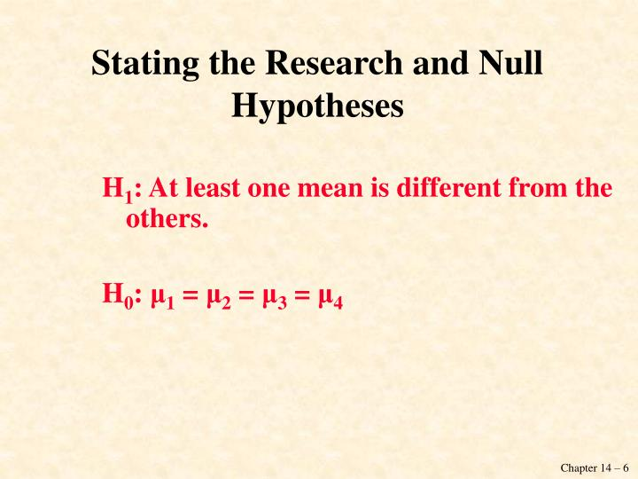 Stating the Research and Null Hypotheses