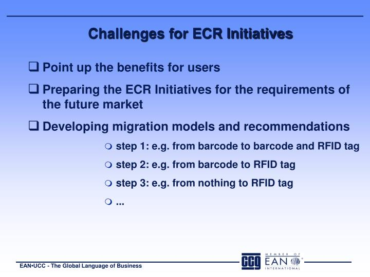 Challenges for ECR Initiatives