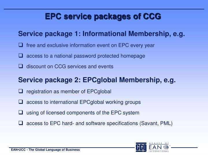 EPC service packages of CCG