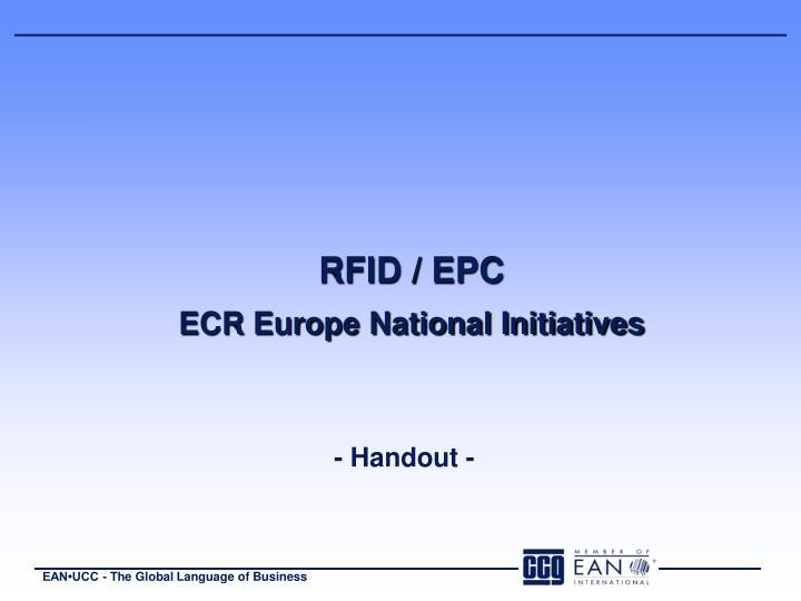 Rfid epc ecr europe national initiatives