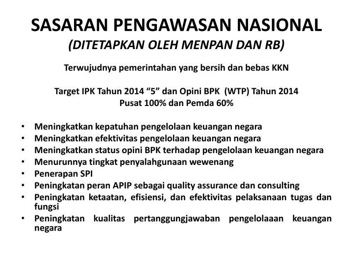 Sasaran pengawasan nasional ditetapkan oleh menpan dan rb
