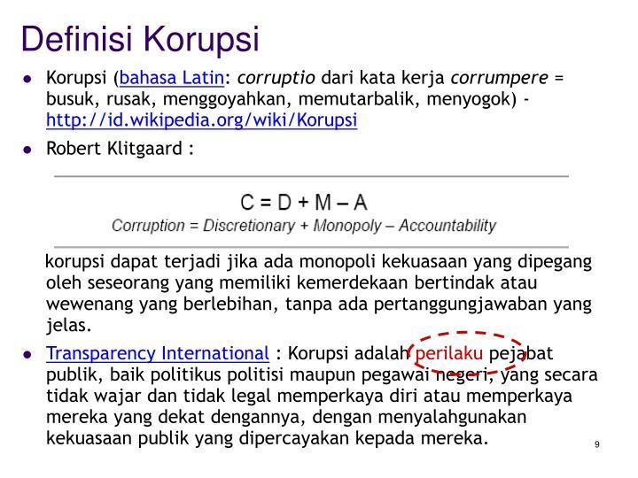 Definisi Korupsi
