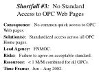 shortfall 3 no standard access to opc web pages