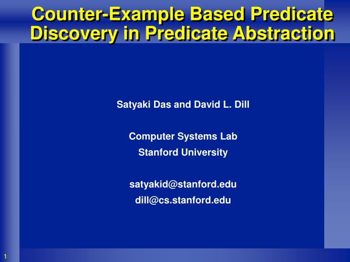 counter example based predicate discovery in predicate abstraction n.