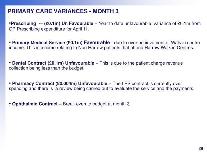 PRIMARY CARE VARIANCES - MONTH 3