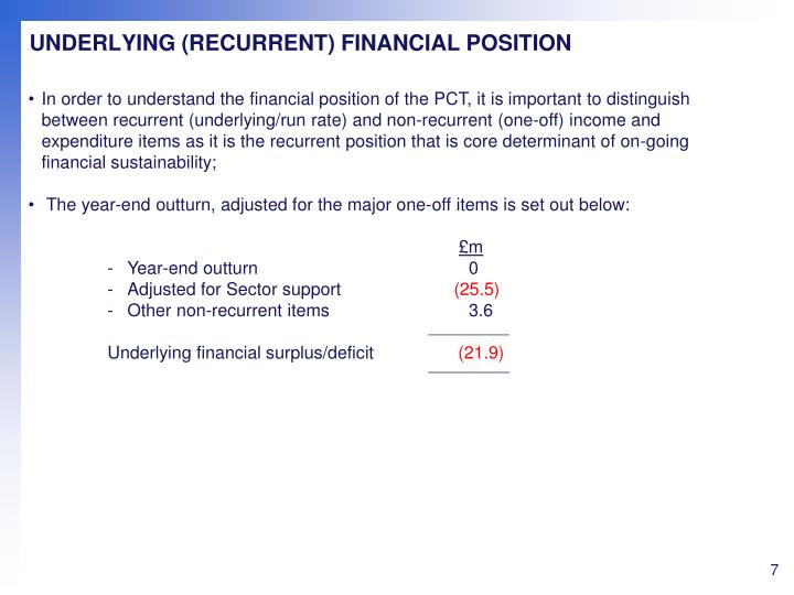 UNDERLYING (RECURRENT) FINANCIAL POSITION