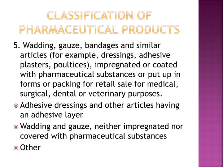 Classification of Pharmaceutical Products