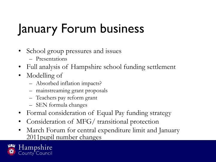 January Forum business