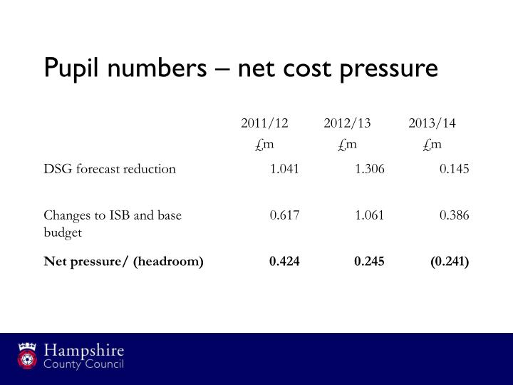 Pupil numbers – net cost pressure