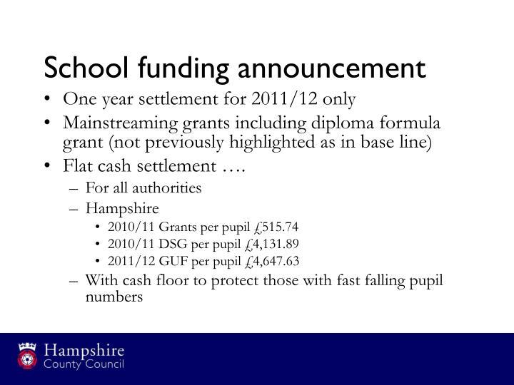 School funding announcement