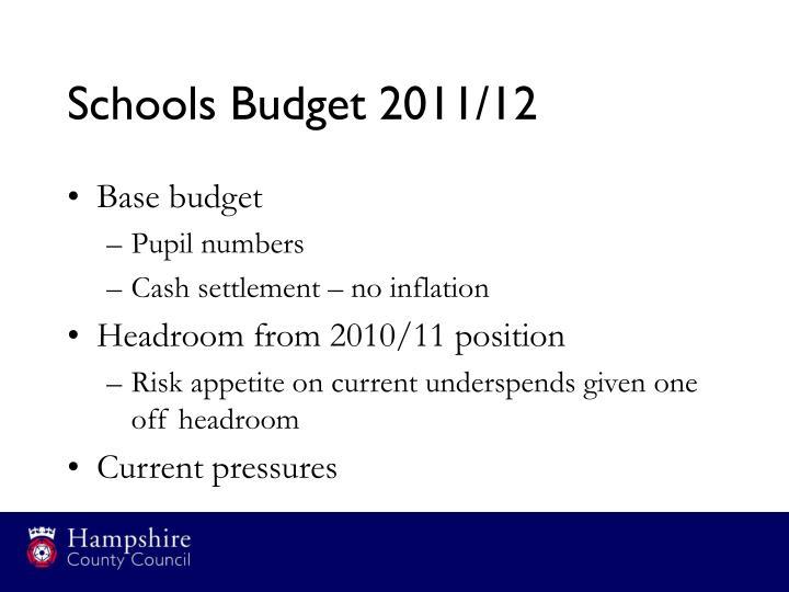 Schools Budget 2011/12