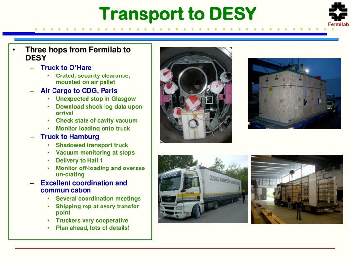 Transport to DESY