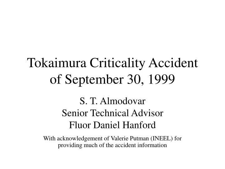 Tokaimura criticality accident of september 30 1999