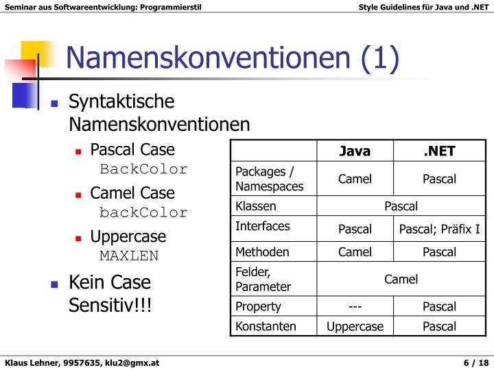 Syntaktische Namenskonventionen
