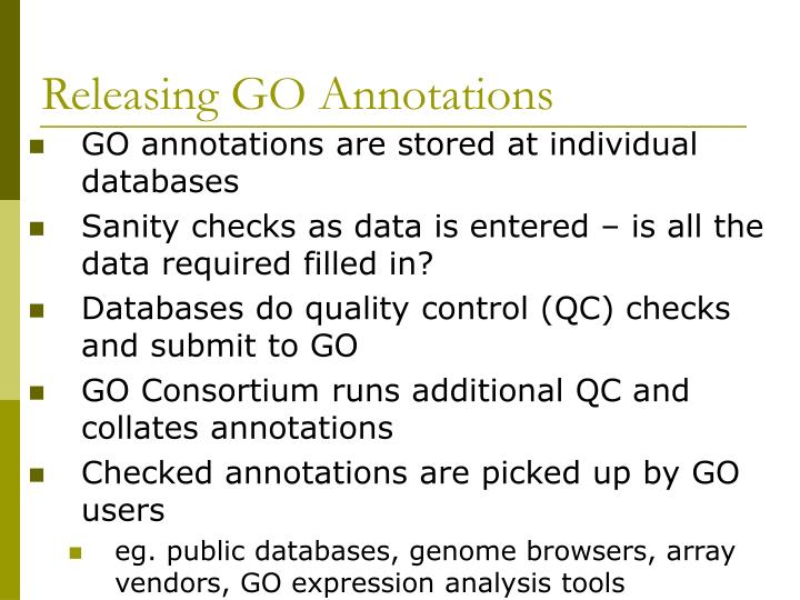 Releasing GO Annotations
