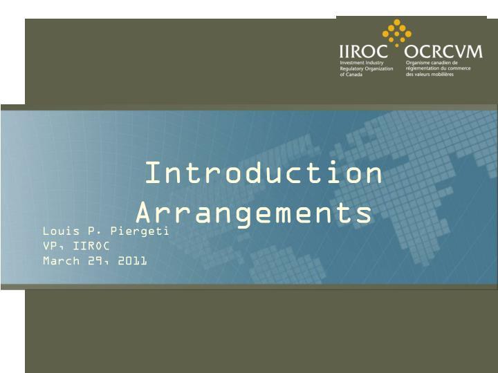 introduction arrangements n.