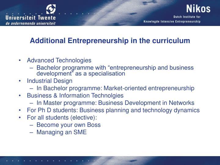 Additional Entrepreneurship in the curriculum