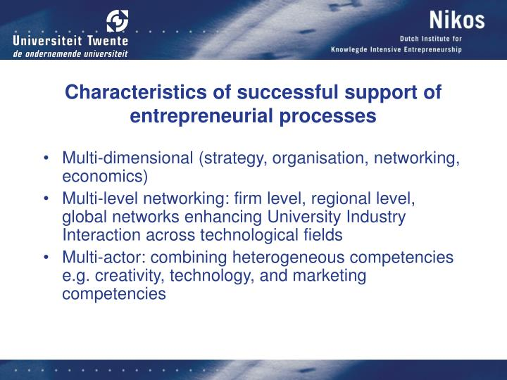 Characteristics of successful support of entrepreneurial processes