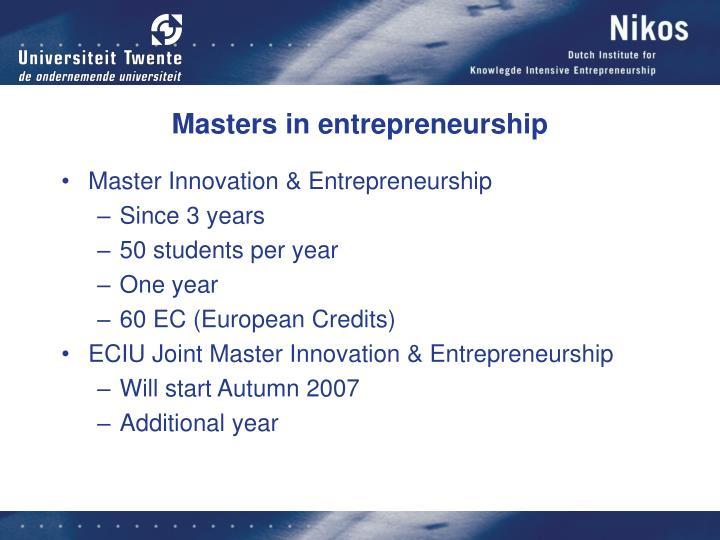 Masters in entrepreneurship