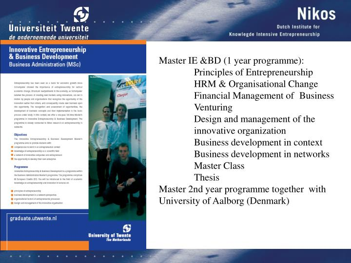 Master IE &BD (1 year programme):
