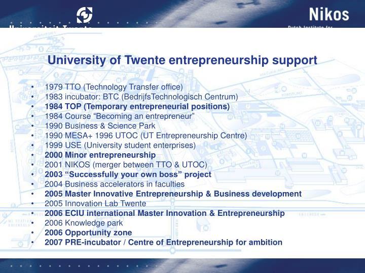 University of Twente entrepreneurship support