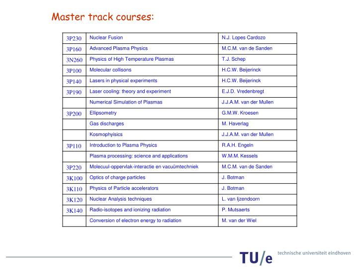 Master track courses: