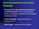 r ecommendations on next steps financing