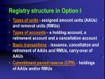 registry structure in option i