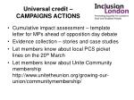 universal credit campaigns actions