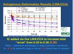 autogenous deformation results lwa cca