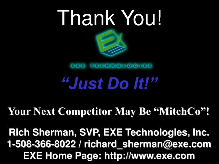 """Your Next Competitor May Be """"MitchCo""""!"""