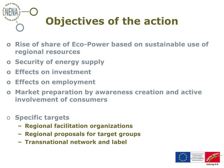 Objectives of the action