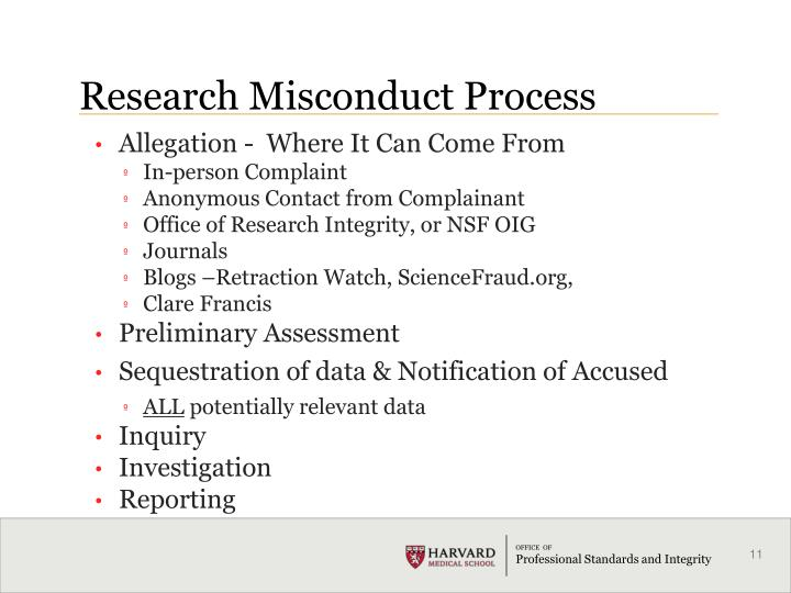 Research Misconduct Process
