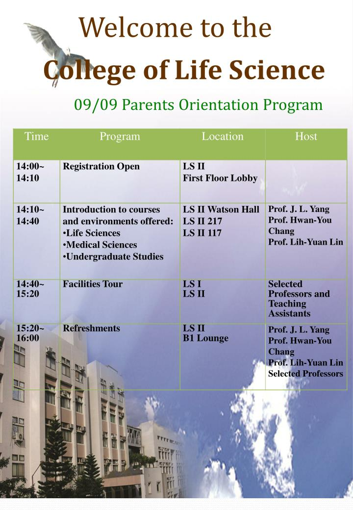 PPT - Welcome to the College of Life Science 09/09 Parents