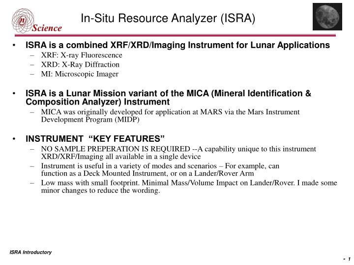 Ppt In Situ Resource Analyzer Isra Powerpoint Presentation Free Download Id 3400199