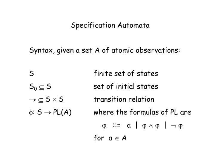 Specification Automata