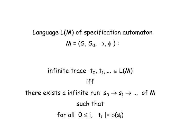 Language L(M) of specification automaton