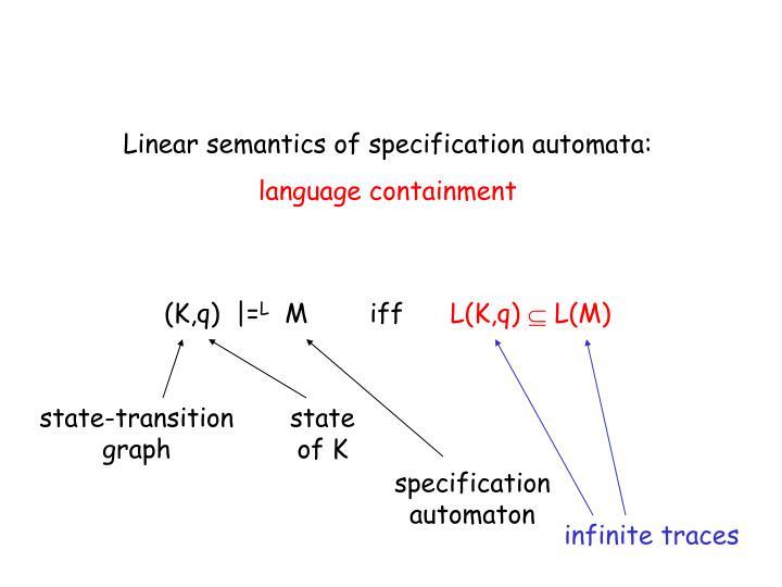 Linear semantics of specification automata: