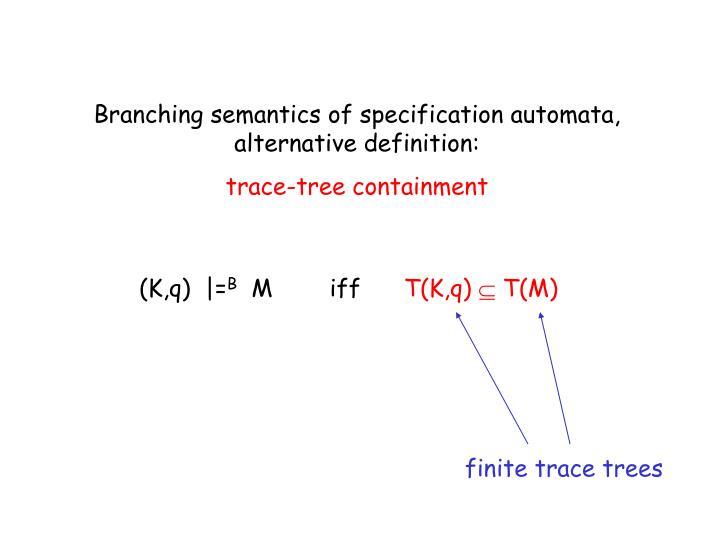 Branching semantics of specification automata, alternative definition:
