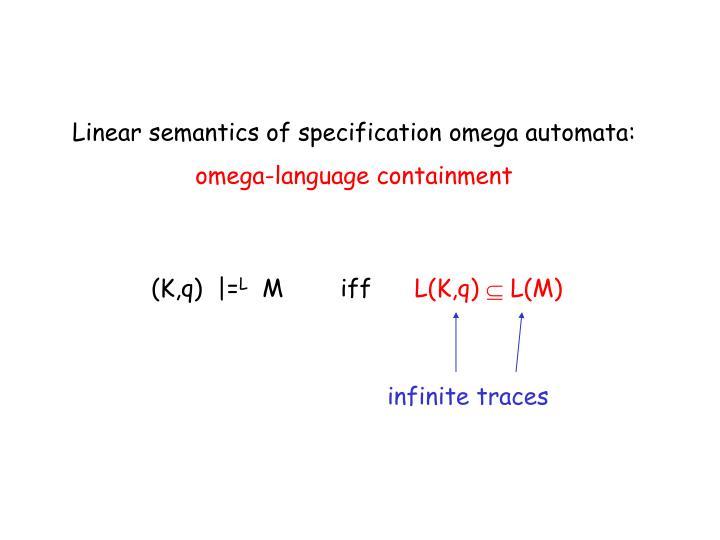 Linear semantics of specification omega automata: