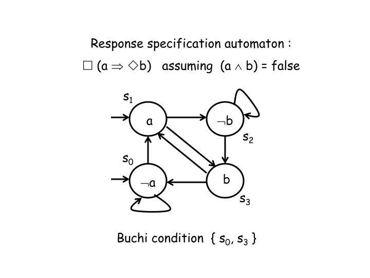 Response specification automaton :