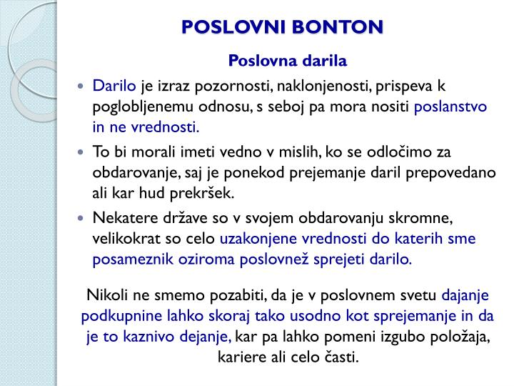 POSLOVNI BONTON