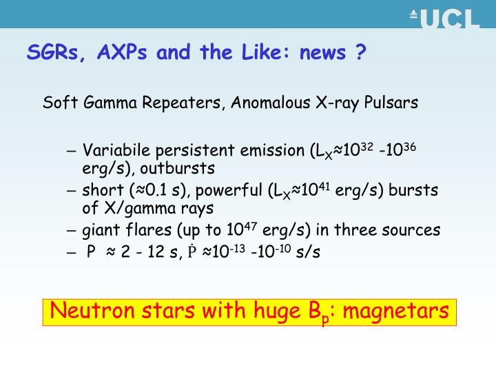SGRs, AXPs and the Like: news ?