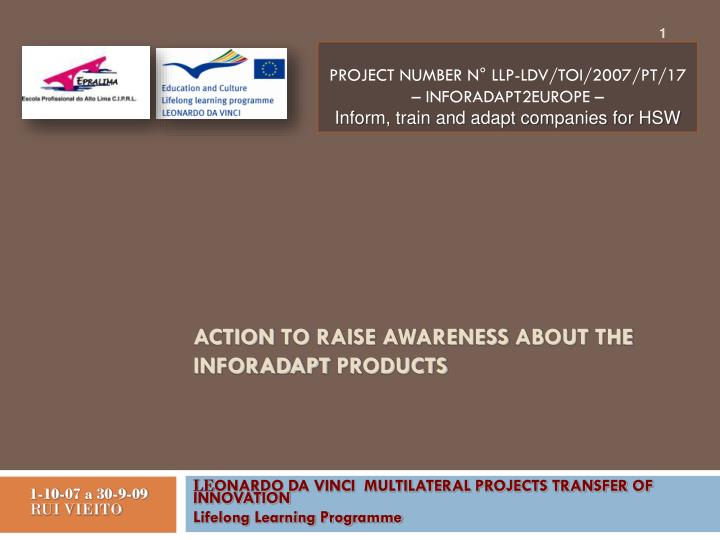 action to raise awareness about the inforadapt products n.