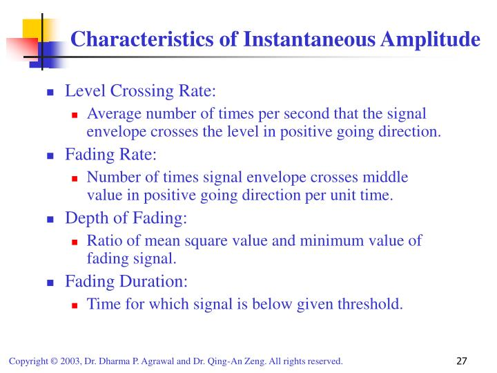 Characteristics of Instantaneous Amplitude