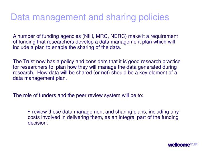 Data management and sharing policies
