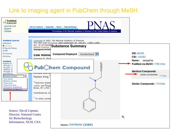 Link to imaging agent in PubChem through MeSH